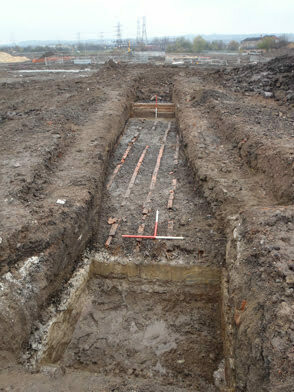 Dye Works Filter Ponds (note clay lining beneath the ash and clay drains that formed the filter)