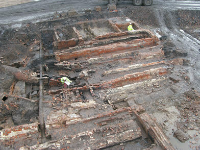 Dye works steam boiler stances under excavation