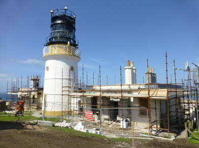 The lighthouse accommodation blocks during renovation